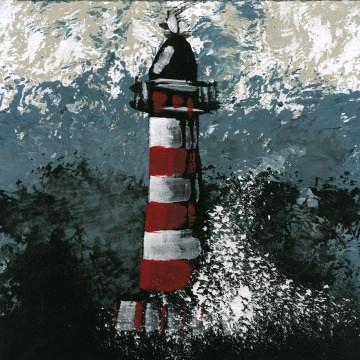 Leuchtturm auf Pappe /Handgemalt/blauer Hintergrund