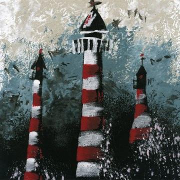 Leuchtturm auf Pappe /Handgemalt/blauer Hintergrund Malerei