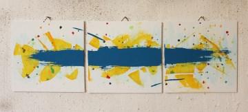 3 x abstakte Bilder mit Aufhänger