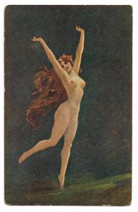 Alte  Jugendstil Künstler Postkarte  ★ DIE TÄNZERIN ★ nackte Frau  mit langen, roten Haaren,  um 1920