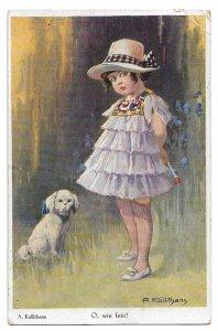 Alte Postkarte Künstlerkarte  ★O, WIE FEIN! ★ kleines, elegantes Mädchen mit Hund, 1927