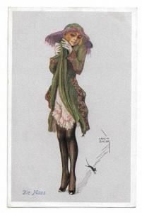 Alte Postkarte Jugendstil ★ DIE MAUS ★ Frau fürchtet sich vor einer kleinen Maus , Künstlerpostkarte aus den 20er Jahren, signiert Ernst Busch