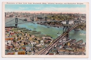 Alte Foto Postkarte  ★ NEW YORK CITY -  PANORAMA FROM WOOLWORTH BUILDING WITH BROOKLYN  AND MANHATTAN BRIDGE ★  Brücken über den Hudson River, 1930er Jahre