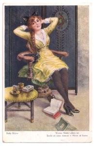 Alte Künstler Postkarte  ★ WENNS MÄDEL ALLEIN IST ★   schönes Mädchen mit langem Zopf raucht eine Zigarette, 1920er Jahre