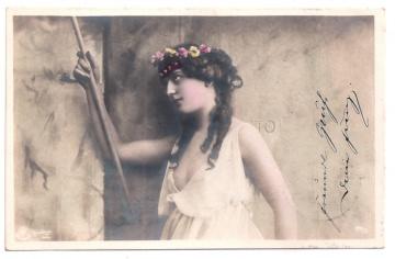 Alte Foto Postkarte  ★ EINE KLASSISCHE SCHÖNHEIT ★   schönes Mädchen mit Blüten im Haar, 1903