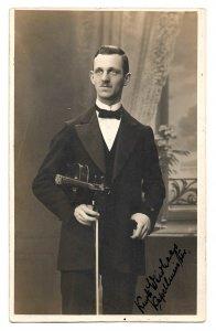 Alte Foto Postkarte  ★ DER GEIGENSPIELER ★ eleganter Musiker im Smoking mit Violine,  1925