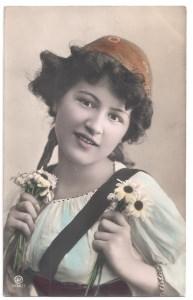 Alte Foto Postkarte  ★ SCHÖNES MÄDCHEN MIT MARGERITEN ★ 1908