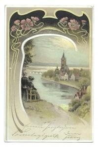 Alte Jugendstil Künstler Postkarte  ★ ROMANTISCHES DORF AM FLUSS ★  1904