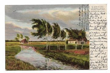 Alte Jugendstil Postkarte  ★ BIRKEN IM WIND ★  romantische norddeutsche Flusslandschaft, Künstlerkarte signiert S. Wenke ,1904