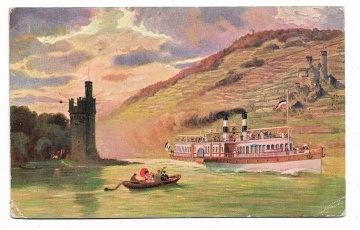 Alte Postkarte  ★ RHEINFAHRT ★ Dampfer auf dem Rhein bei Bingen,  um 1905