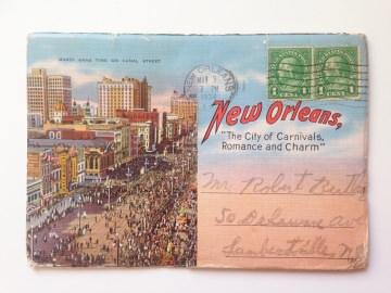 ★NEW ORLEANS -FOTO LEPORELLO ★ Vintage Souvenir Postkarten  Leporello aus den USA mit 18 Fotos, von 1938