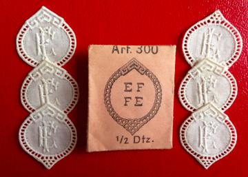 ★  EF/FE  MONOGRAMME ANTIK ★ 6 Stück gestickte weiße vintage Buchstaben Wäschezeichen zum Aufnähen