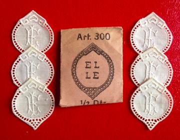 ★  EL/LE  MONOGRAMME ANTIK ★ 6 Stück gestickte weiße vintage Buchstaben Wäschezeichen zum Aufnähen
