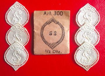 ★ SS  -  MONOGRAMME ANTIK  ★ 6 Stück gestickte weiße vintage Buchstaben Wäschezeichen zum Aufnähen