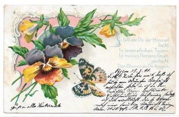 Alte Jugendstil Postkarte  ★ VEILCHEN MIT SCHMETTERLING ★ Grußkarte von 1901