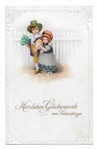 Alte Jugendstil Postkarte ★ HERZLICHEN GLÜCKWUNSCH ZUM GEBURTSTAG  ★ Kinder mit Blumen und großem Ei, um 1910