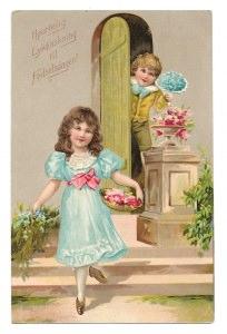 Alte Postkarte ★ HERZLICHEN GLÜCKWUNSCH ZUM GEBURTSTAG  ★ elegante Kinder gratulieren mit Blumenstrauß, 1912