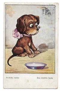Alte Postkarte ★EINE KITZELIGE SACHE★ kleiner Hund mit Fliege auf der Schnauze, Künstlerpostkarte von 1914