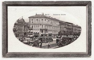 Alte Foto Postkarte ★BERLIN - POTSDAMER BRÜCKE ★Straßenbahnen, Omnibus, Pferdekarren, 1912