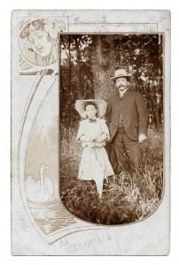 Alte Foto Postkarte  ★ VATER UND TOCHTER ★ mit Jugendstilmotiv, 1906