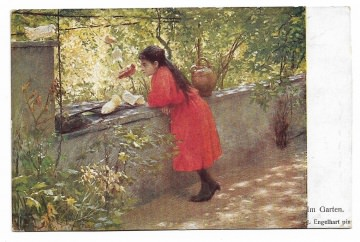 Alte Postkarte  ★ IM GARTEN ★ Mädchen mit weißen Tauben, Künstlerpostkarte um 1905