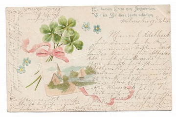 Alte Jugendstil Postkarte  ★ GLÜCKSKLEE UND POSTKARTE★ Prägekarte von 1901