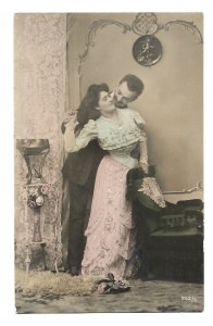 Alte Postkarte ★ELEGANTES LIEBESPAAR ★ Foto Postkarte um 1905