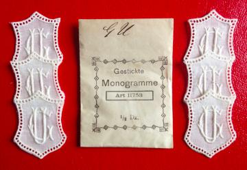 ★ GU/UG  MONOGRAMME ANTIK  ★ 6 Stück gestickte weiße vintage Buchstaben Wäschezeichen zum Aufnähen