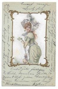 Alte Postkarte ★ SCHÖNE FRAU MIT GLÜCKSKLEE ★ Künstlerkarte aus der Zeit um 1900