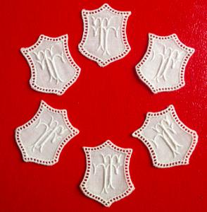 ★ TT  MONOGRAMME ANTIK  ★ 6 Stück gestickte weiße vintage Buchstaben Wäschezeichen zum Aufnähen