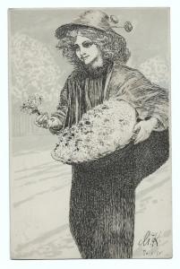 Alte Jugendstil Postkarte  ★ BLUMENVERKÄUFERIN MIT MARGERITEN ★ Künstlerkarte von Max Klinger, 1911