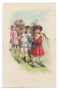 Alte Künstler Postkarte  ★ ELEGANTE KINDER MIT BLUMEN ★ um 1910