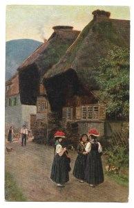 Alte Künstler Postkarte  ★FRAUEN IN SCHWARZWÄLDER TRACHT ★ H. Hoffmann, 1917