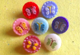7 Vintage Glasknöpfe Schmetterling bunt ∅ 11 mm