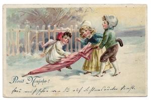 Alte Lithografie Postkarte ★PROSIT NEUJAHR!★ Kinder spielen mit großem Regenschirm, 1910
