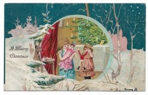 Alte Lithographie Postkarte Weihnachten  ★ A MERRY CHRISTMAS ★ Weihnachtsbaum, Mädchen, Geschenke, Spielzeug