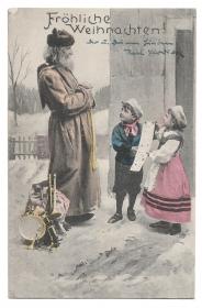 Alte Postkarte ★ FRÖHLICHE WEIHNACHTEN! ★ Weihnachtsmann mit Geschenken, Kinder mit Wunschzettel