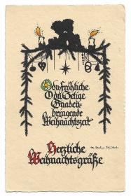 Alte Scherenschnitt Künstler Postkarte WEIHNACHTSGRÜßE kleine Engel sitzen auf Tannenzweigen, signiert Sachse Schubert
