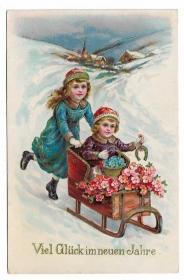 Alte Jugendstil Postkarte Neujahr ★VIEL GLÜCK IM NEUEN JAHR★ Kinder mit Schlitten und Hufeisen