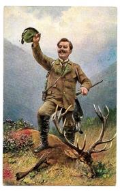 Alte Künstler Postkarte ★ JÄGER MIT ERLEGTEM HIRSCH UND VOGEL ★ um 1910