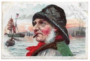 Alte Lithographie Postkarte ★ FISCHER AM HAFEN RAUCHT ZIGARRE ★ 1900