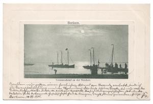 Alte Postkarte  ★ BORKUM - SOMMERABEND AN DER NORDSEE ★ Segelboote in der Abenddämmerung, 1901