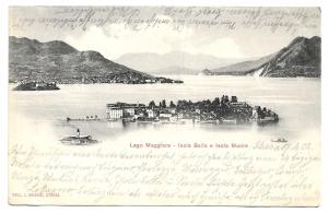 Alte Postkarte  ★ LAGO MAGGIORE- ISOLA BELLA E ISOLA MADRE ★ Blick auf den See, Inseln und Berge