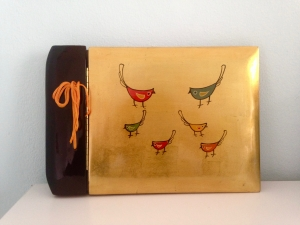 ★Asiatisches vintage Foto-Lackalbum Scrapbook mit handbemaltem Vogelmotiv, unbenutzt ★