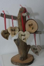 Herz aus Altholz mit eingebrannter Schrift, Handmade