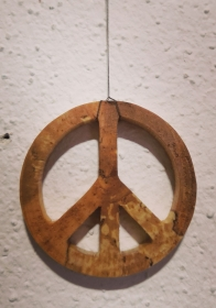 Peace-Zeichen aus Birkenholz 5cm groß