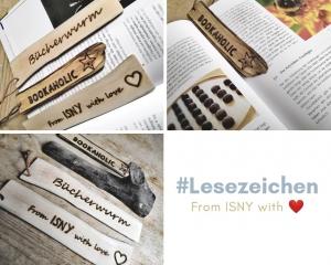 Handgemachte Lesezeichen aus Treibholz mit eingebrannter Schrift, Unikat