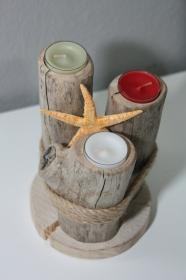 Maritimer Teelichthalter aus Treibholz, Unikat