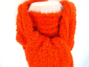 Schal★in orange★superflauschig in Grobstrick-Optik★handgestrickt★  - Handarbeit kaufen