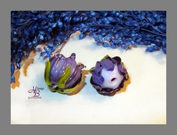 1 Knospe Lampwork Beads, Rose, Handmade,  Perlen, Schmuck selber machen